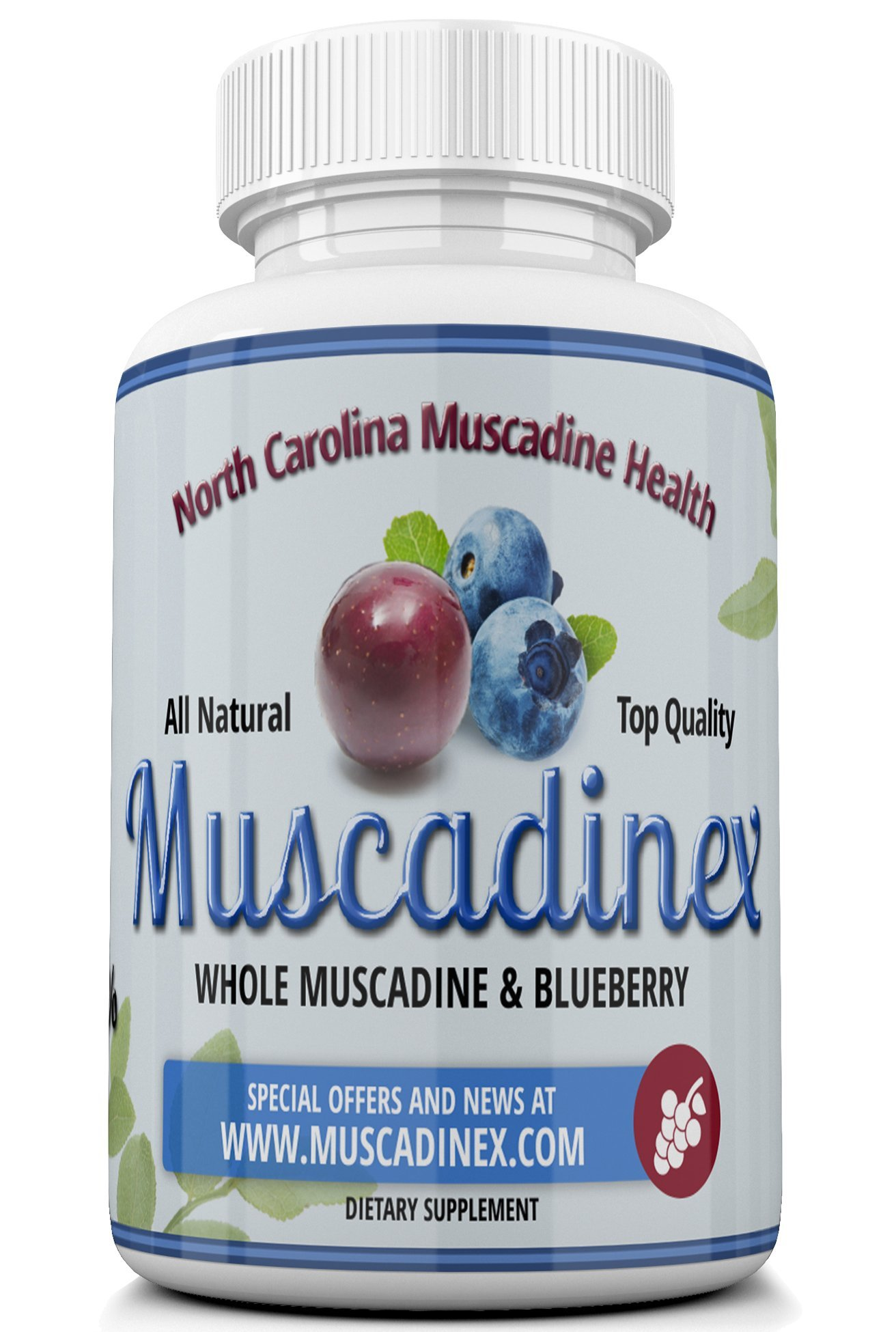 Muscadine MX2 Blueberry Plus Muscadine Brain Protection - 60x 500Mg Vegetarian Capsules. Cognitive Boost and Blood Glucose Reduction. Made in The USA. Natural Resveratrol and Pterostilbene.
