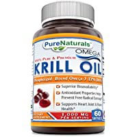 Pure Naturals Krill Oil 1000 mg Per Serving Softgels (Non-GMO, Gluten-Free) - Superior Bio-Availability* Antioxidant…