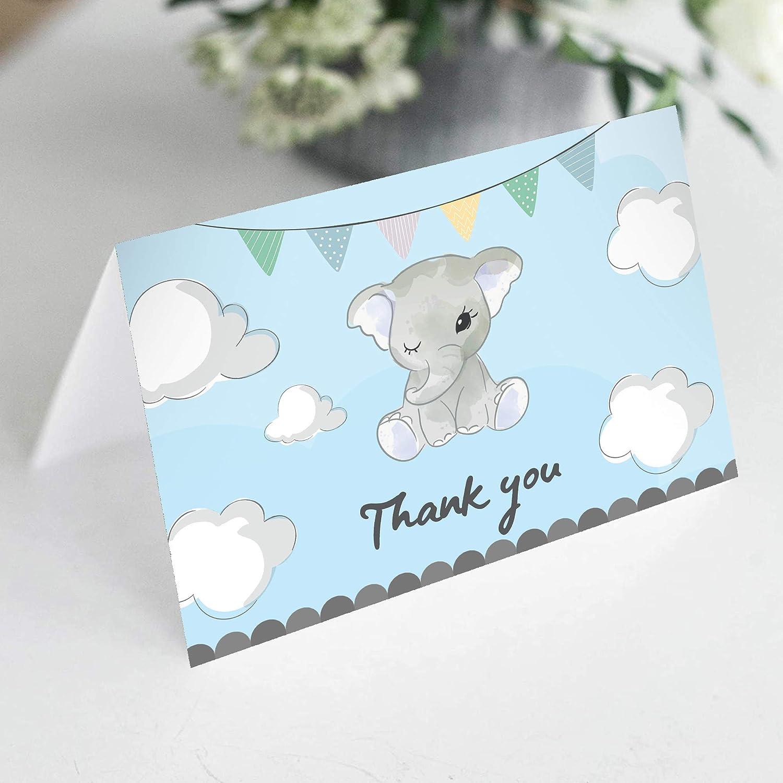 소년에 대한 아기 샤워 카드 감사합니다 - UV 엠보스 매트 마무리. 24 팩 핑크 코끼리 아기 소년 카드. 베이비 보이 봉투와 스티커와 함께 당신에게 카드를 감사합니다