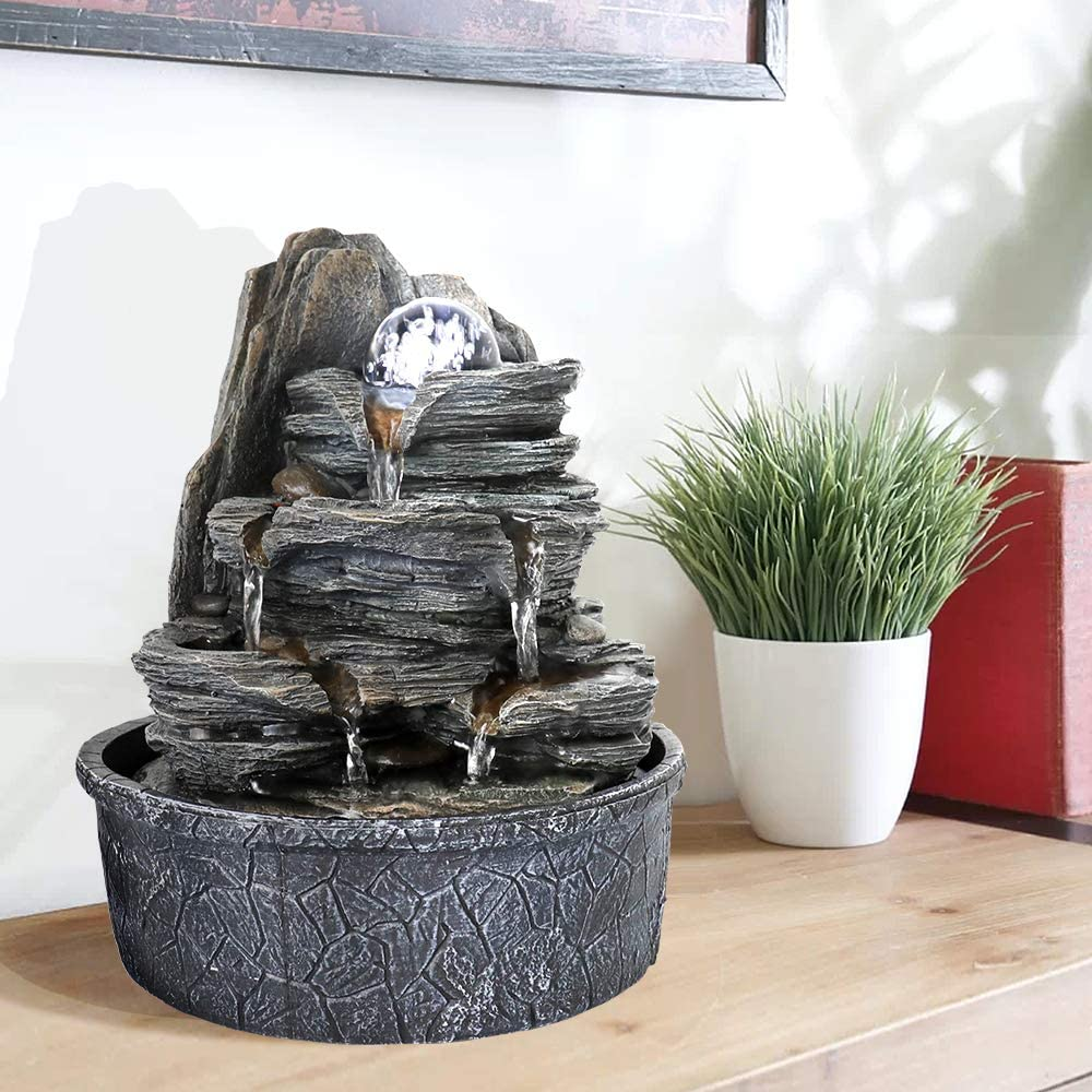 SunJet 9.8inch Rock Indoor Water Fountain, Cascading Tabletop Fountain with LED Lights & Crystal Ball - Indoor Calming and Relaxing Waterfall Feature for Home Office or Kitchen