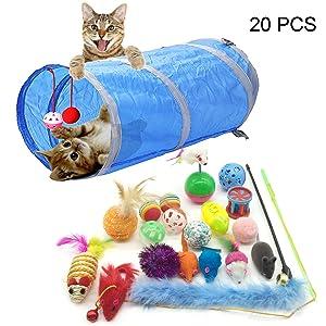 PietyPet Giocattoli per Gatti, Gatto Giocattoli Interattivi gioco per gattino kitten indoor, 20 pezzi