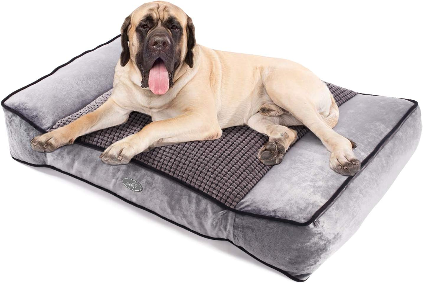Pecute Large Dog Bed, Warm Plush Cool Silk Double-Sided Pet Bed Four Seasons Available, Orthopedic Shredded Memory Foam Dog Beds, Washable Dog Lounge with Removable Cover 40X27X8 in