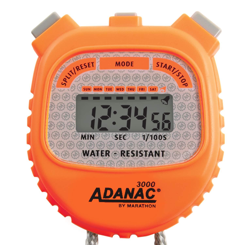 MARATHON Adanac 3000 Digital Stopwatch Timer, Water Resistant (Neon Orange, 1)