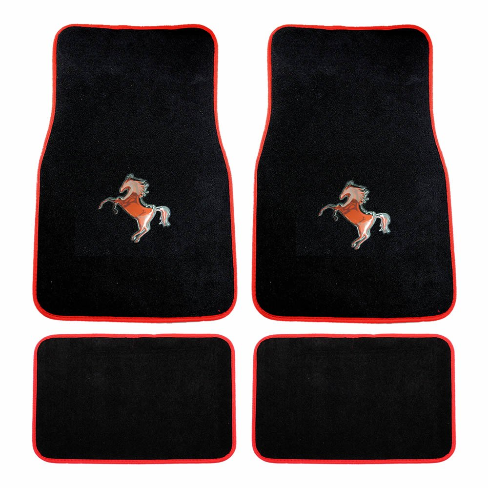 Rubber floor mats with mustang logo - Amazon Com 4pc Universal Red Mustang Horse Pony Front And Rear Black Carpet Floor Mats Automotive