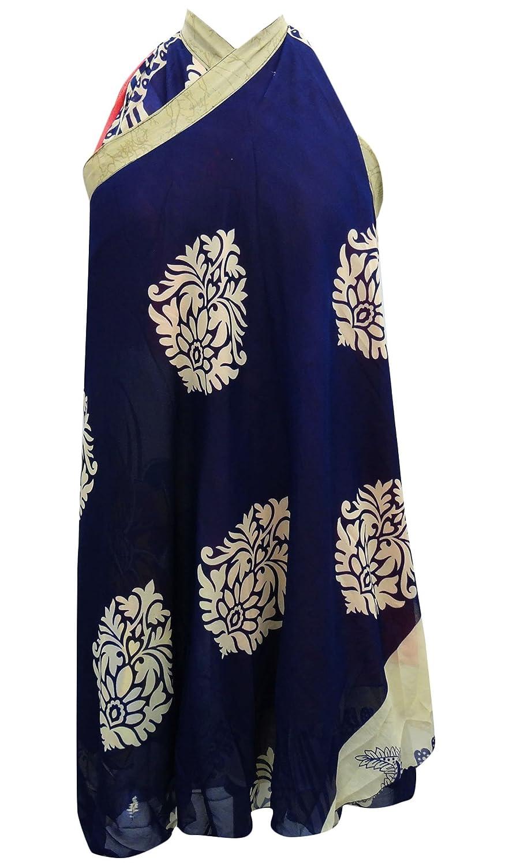 Vintage-Kleid Georgette Magie Wickelrock Rohr Sari Sarong