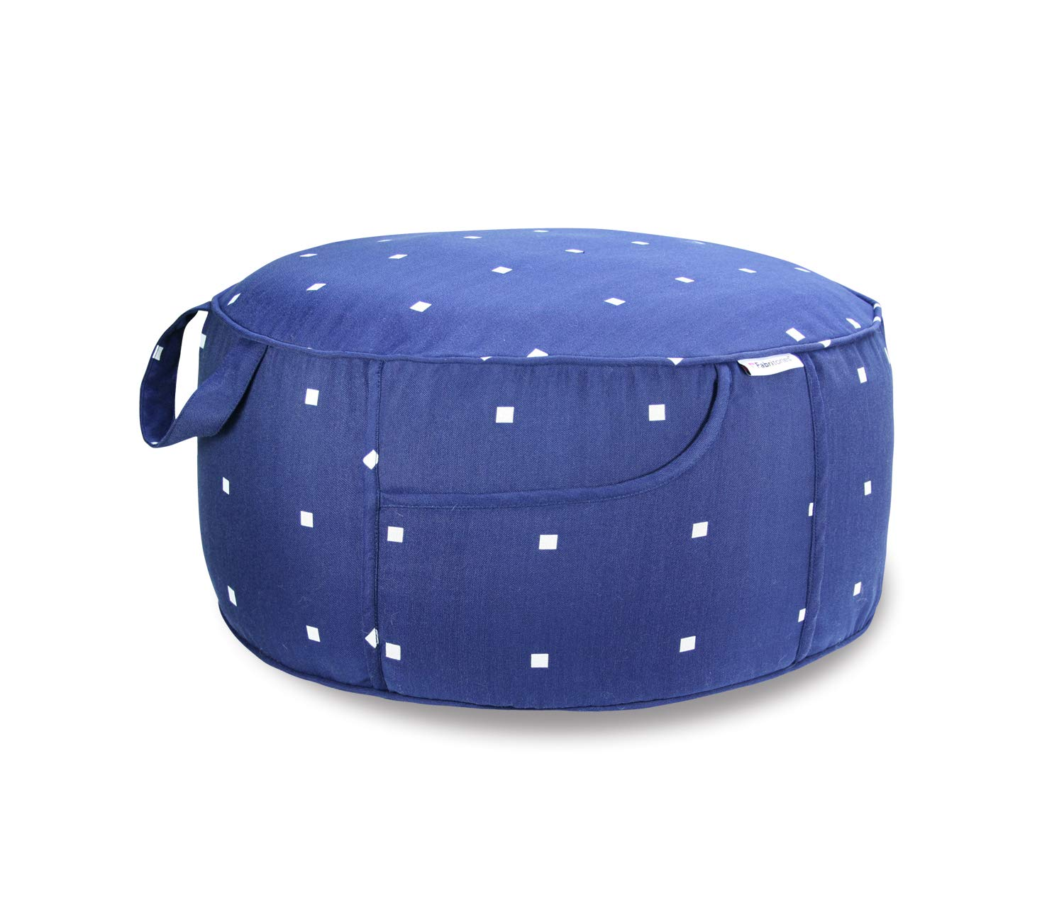 Fabritones Outdoor Inflatable Stool Round Ottoman Navy Polka Dot Portable Foot Rest for Patio, Camping Home Yoga - Suitable for Kids and Adults