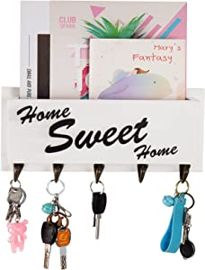 1-Slot Mail Organizer Wall Mount- Rustic Wooden Key Holder Farmhouse Mail Holder with 5 Key Hooks Entryway Key Hanger White Mail Sorter Home Office Hallway Supplies for Storing & Organizing