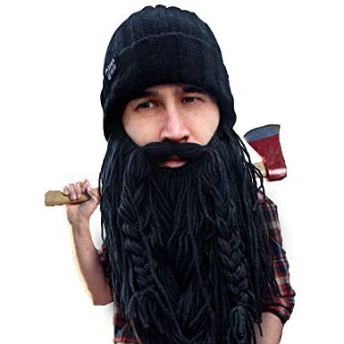da1a07f99d9 Beard Head Barbarian Roadie Beard Beanie -Funny Knit Hat and Fake Beard  Facemask Black