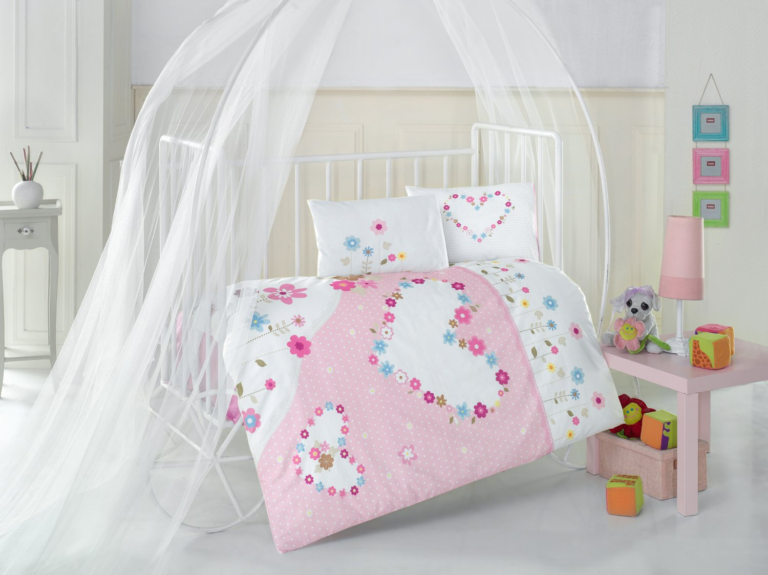 Pretty Pink Hearts Baby Cot Bed Duvet Cover Set, 100% Cotton Soft and Healthy 4-Pieces Bedding Set