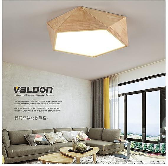 mmynl iluminación de la sala de madera nórdica dormitorio techo led luz de madera maciza de creación luz simple y moderno de estilo japonés salón geométrica ...