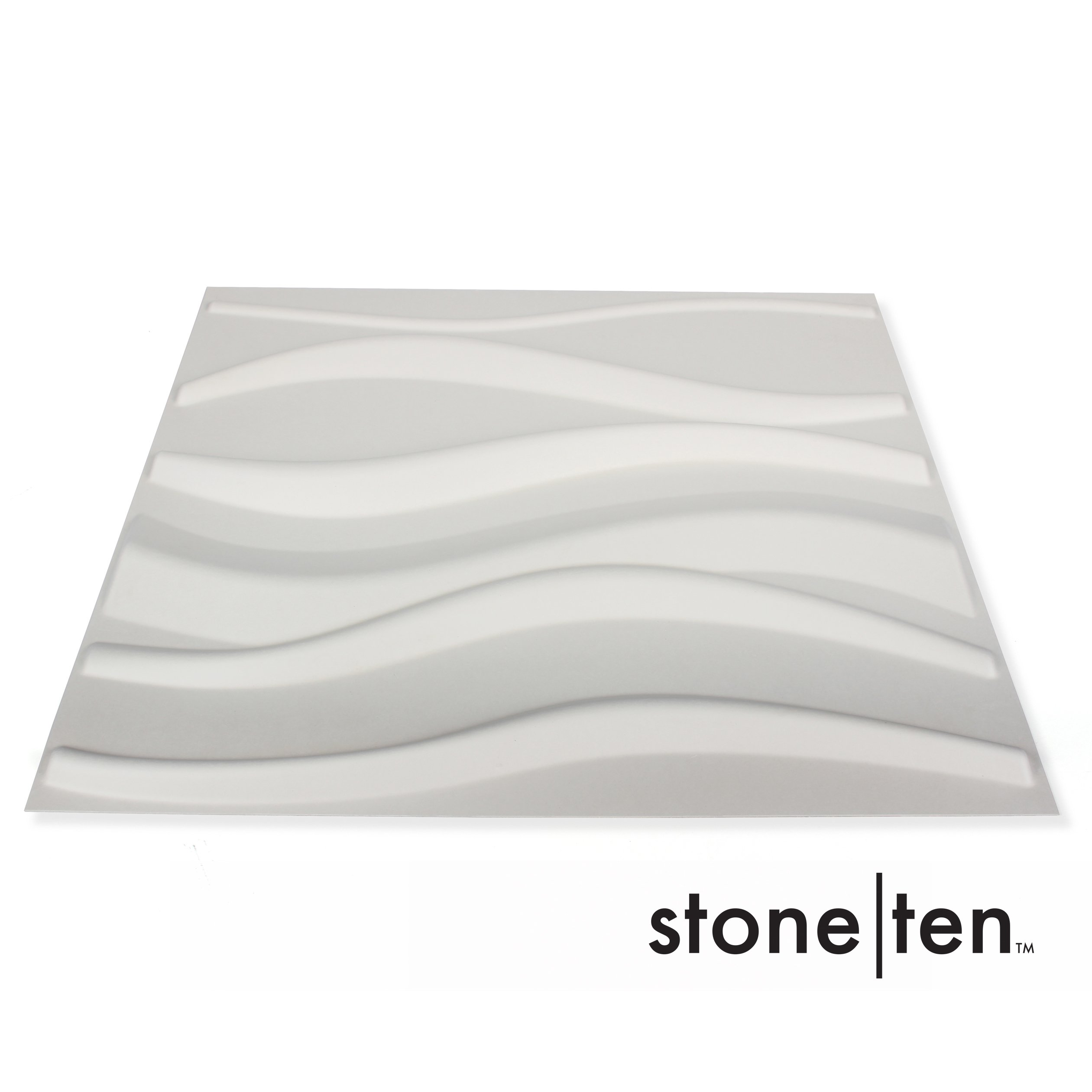 3D Wall Panels - Decorative Wall Panels - Textured Wall Paneling - Matte White Paintable 3D Wall Tiles (12, Ripple)