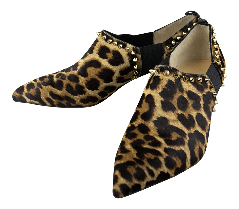 Christian Louboutin Leopard Pony Hair Vicky 45アンクルブーツ9 US 39 EU   B0794GK5SK