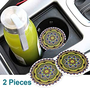Funsport 2.75 Inch Diameter Oval Tough Logo Vehicle Travel Auto Cup Holder Insert Coaster Can 2 Pcs Pack for Bohemian Accessory (Yellow)
