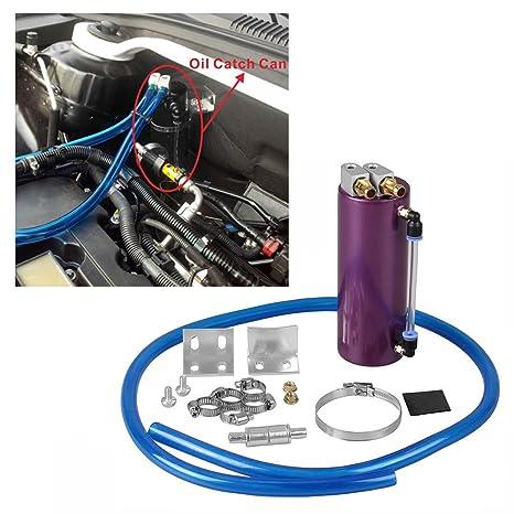 Amazon.com: RYANSTAR Universal Aluminum Racing Engine Oil Catch Tank CAN Kit Turbo Reservoir Billet Round 450ML Purple: Automotive