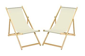 2 X Chaise Longue En Bois Blanc Sans Accoudoirs Pliable Avec