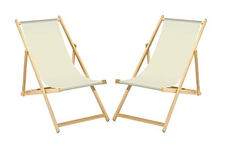 Liegestuhl Holz Mit Armlehne.2 X Liegestuhl Holz Weiß Ohne Armlehne Klappbar Mit Wechselbaren Stoffbezug