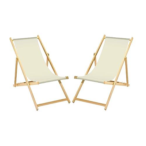 2 X Chaise Longue En Bois Blanc Sans Accoudoirs Pliable Avec Interchangeables Housse