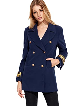 1d7672ed95 SheIn Women's Double Breasted Blazer Jacket Coat With Pockets Large Navy