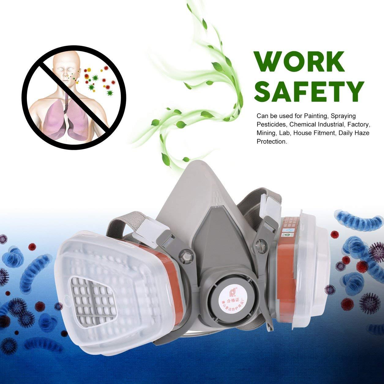 Berufshalbe Gesichtsmaske-Gas-Respirator-Filter fü r das Malen von Sprü harbeit Sicherheitsmasken verhindern organisches Dampf-Gas, grau Dailyinshop