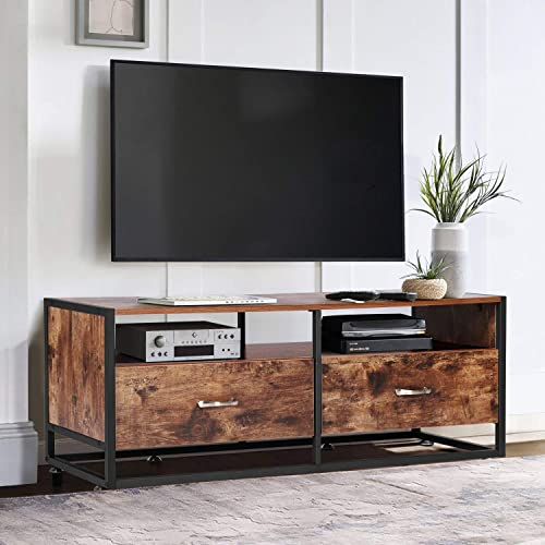 VECELO Modern TV Stand Entertainment Center Media Console Living Room,Industrial Table