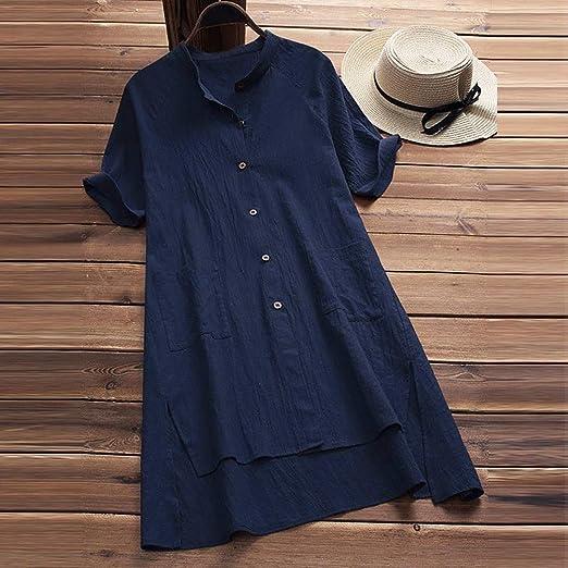 Asalinao letnia sukienka damska casual dla kobiet, stÓjka, długie rękawy, luźna tunika, top, na lato, jesień, z długim rękawem: Odzież