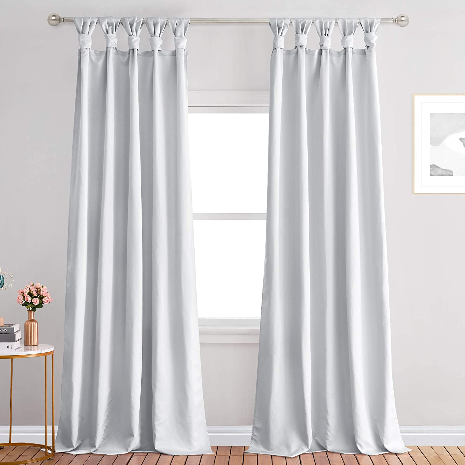 StangH Luxurious Home Decor Tab Top Faux Silk Curtain Drapes Light Reducing Privacy Window Treatment for Office / Studio / Living Room, Silver Grey, W52 x L96, 2 Panels