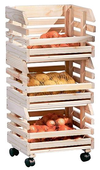 H24living Kuchenwagen Fruchtehorde Kuche Rollwagen Regal