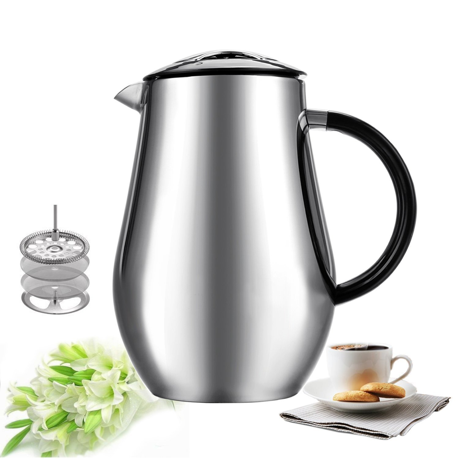 Sailnovo 8-Cup,1000ml/34oz Coffee Press Cafetiere Stainless Steel Double-Wall Vacuum Insulated Coffee Tea Maker Press Pot Plunger Carafe kettle And French Press No Drip Spout With ABS Handle