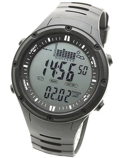 new concept afd7d a2b60 [ラドウェザー]フィッシングウォッチ 釣り 気圧計 天気予測 温度計 キャンプ アウトドア時計 デジタル腕時計 (ブラック(通常液晶))