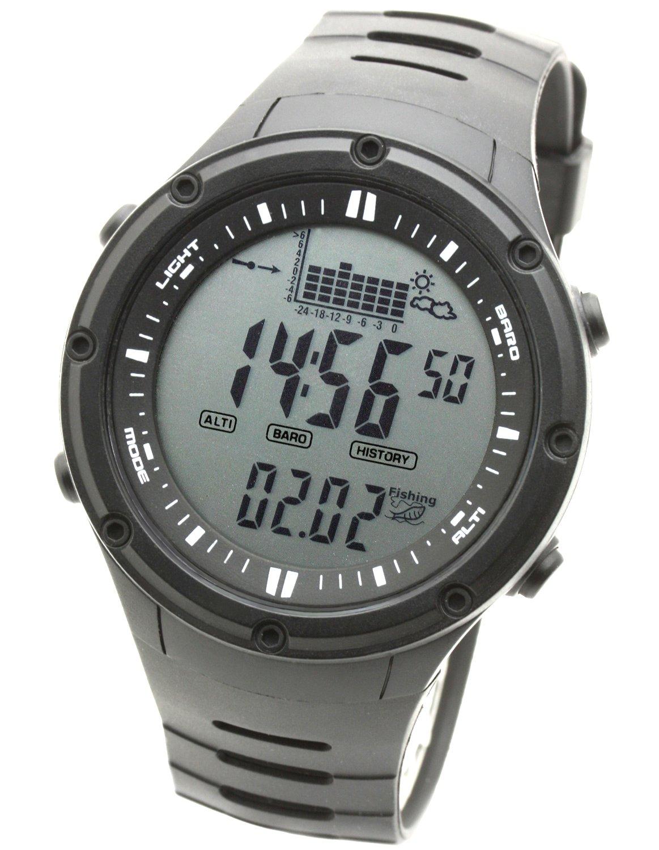 LAD WEATHER Fishing Master Watch - Fish Alarm, Storm Alarm, Altimeter, Barometer, and Weather Monitors (bkno)