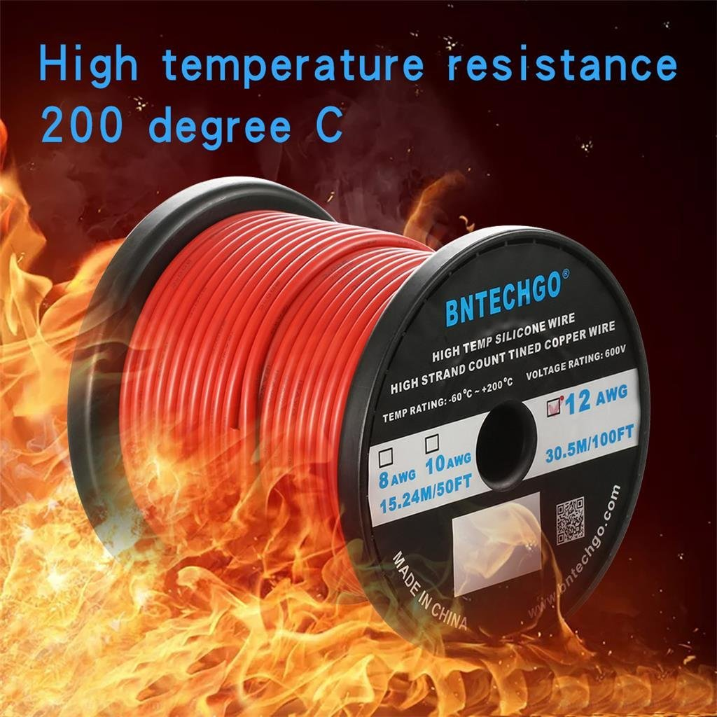 Red or Black 10 AWG High Temp Silicone insulated Wire 3ft