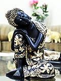 CraftJunction Black Golden Thinking Lord Buddha Showpiece(10*6*5 Inches)