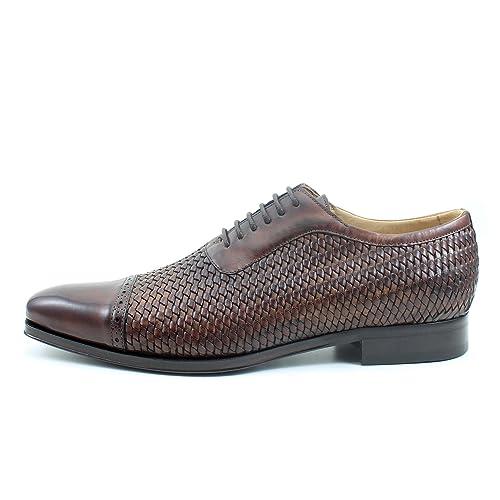 Giorgio Rea Zapatos para Hombre Marron Marron Elegante Hombre Zapatos Hecho A Mano EN Italia Cuero Real Brogue Oxfords Richelieu Mocasines: Amazon.es: ...