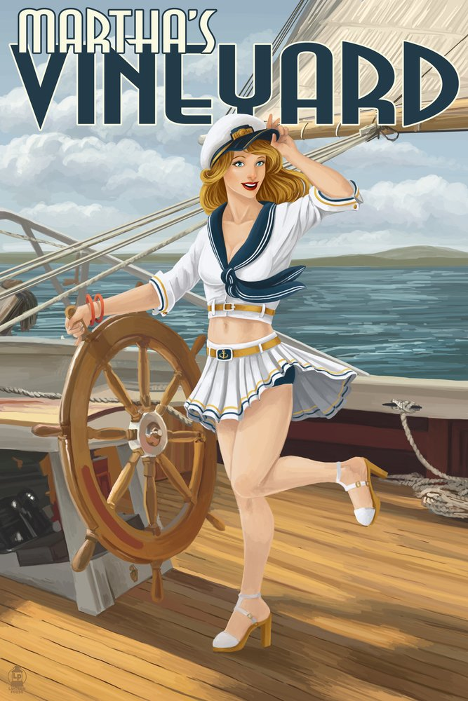 Martha 's Vineyard – Sailing Pinup Girl 36 x 54 Giclee Print LANT-41437-36x54 B017EA173M  36 x 54 Giclee Print