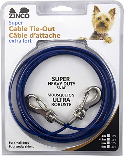 20, Blue // 50 pounds Zinco Strong Tie-Out Cable 360 Degree Rotating Double Swivel Connector for Dogs//Cats