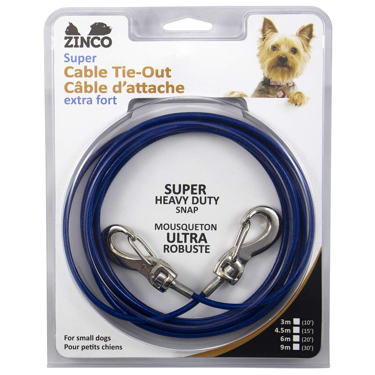 Ben-Mor Zinco Strong Tie-Out Cable 360 Degree Rotating Double Swivel Connector for Dogs