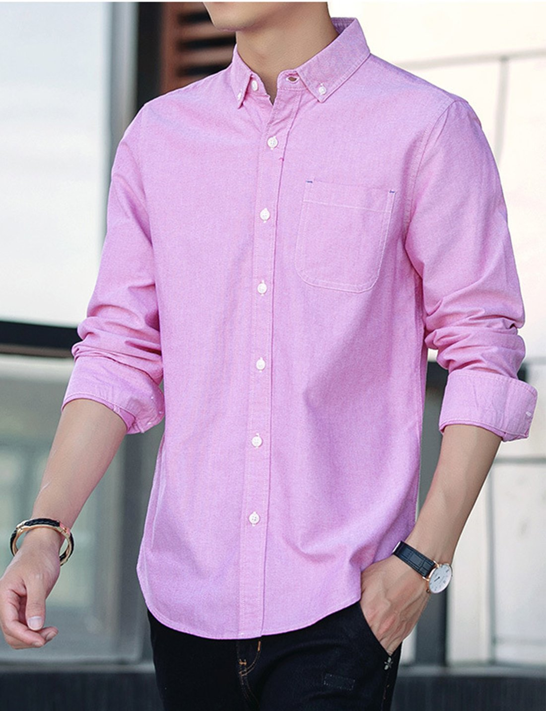Yeokou Cuello - Camisa de de Manga Larga para Hombre, Rosado Estilo ...