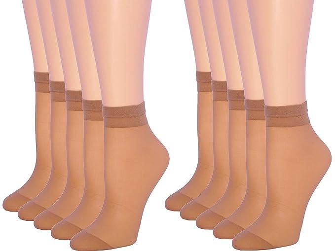 4318f0824a7 Amazon.com  10 Pack Womens Ankle High Sheer Socks 20 DEN (BEIGE ...