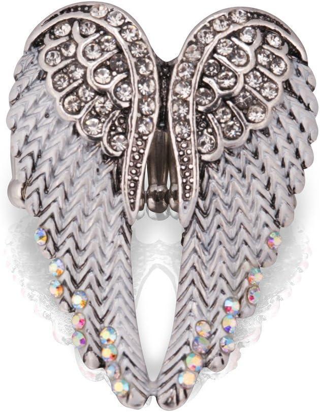 HOMEYU® ANILLO STARYU® con alas de ángel Anillos austriacos con piedras preciosas Anillos de boda para mujer