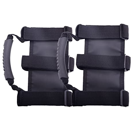 2-Pack Grab Handle Car Rear Seat Hand-rest Grip with Adjustable Pull Strap