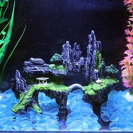 Efanr simulación Árbol de resina Rockery piedra Acuario Paisaje Decoración poliresina Fish Tank Decoración Adornos Decoración