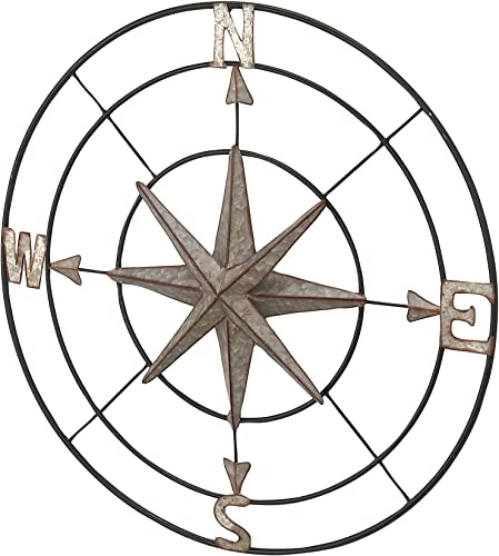 Deco 79 32″ Coastal Round Iron Compass Wall D cor
