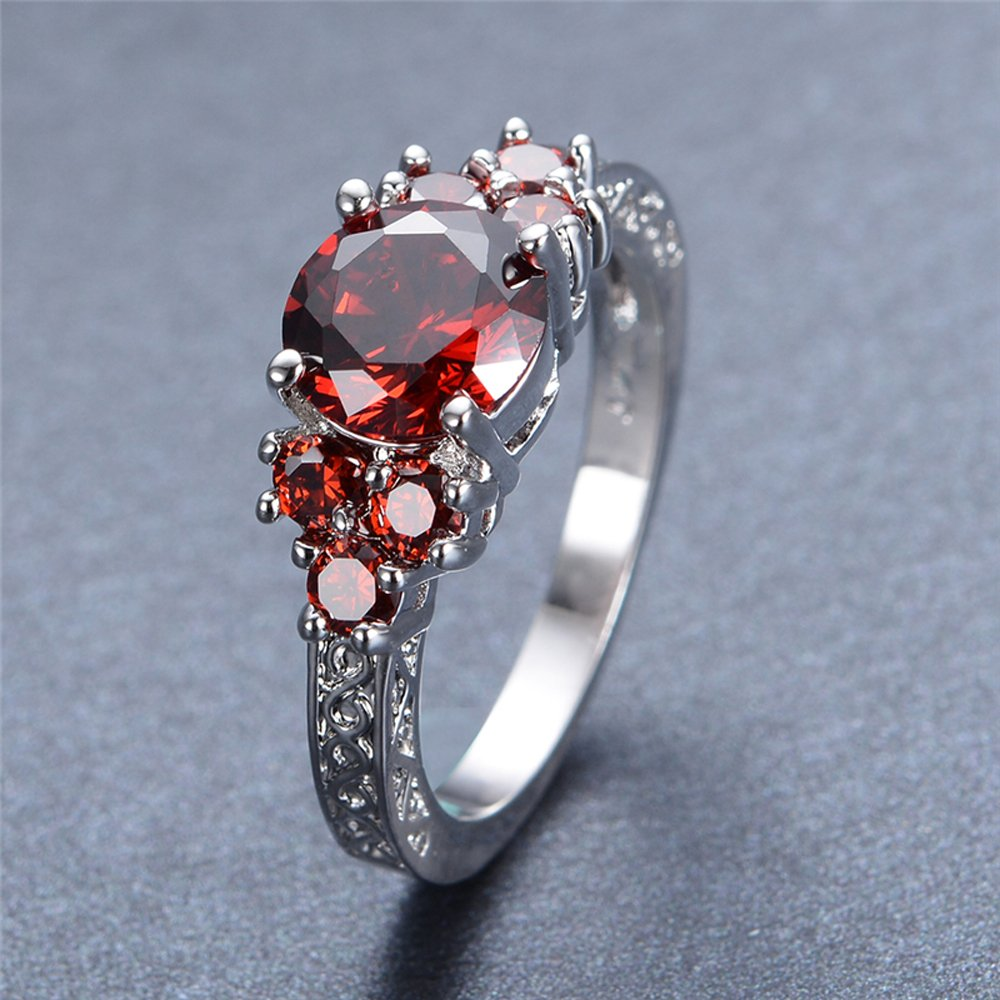 F/&F Jewelry Charming Red Ruby Jewelry Wedding Ring For Women Rings Engagement Bridal rings