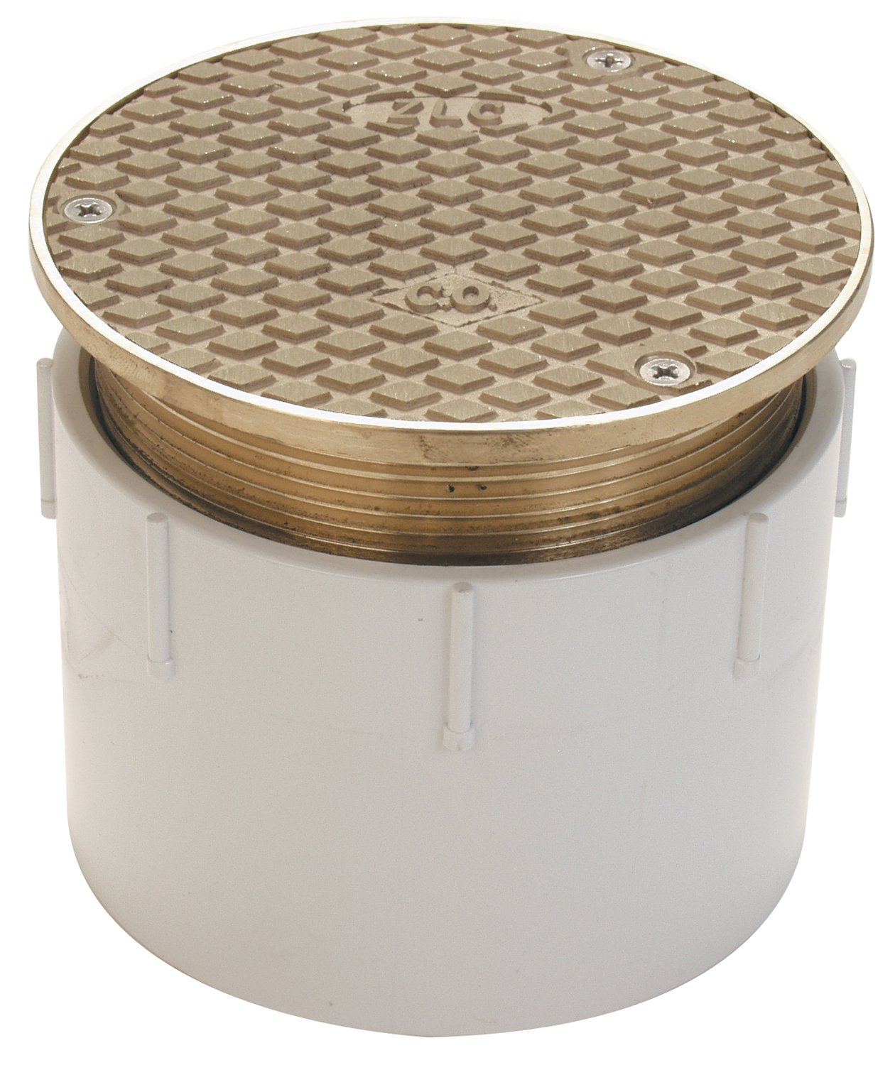 Zurn CO2450-PV4, Adjustable Floor Cleanout, 4 Inch PVC Hub Connection , Brass