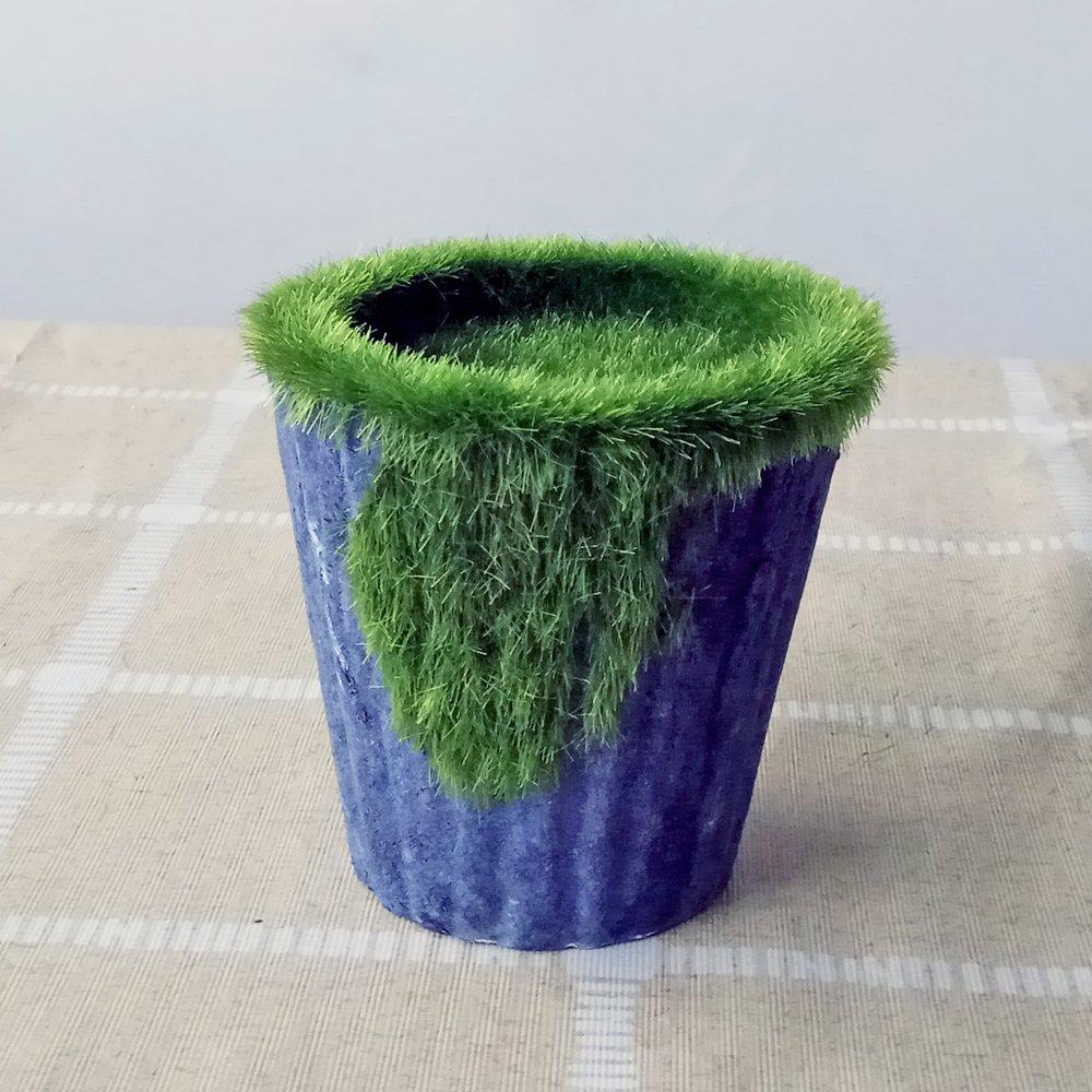 Better-way Paper Pulp Flower Pot Flocking Pots Succulents Cactus Plant Pots Flower Containers Window Boxes Planters Pulp Pots With Moss (Round, Navy)