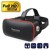 Pansonite 3D VR Glasses Virtual Reality Headset for Games & 3D Movies Upgraded & Lightweight with Adjustable Pupil and Object Distance for IOS and Android Smartphone