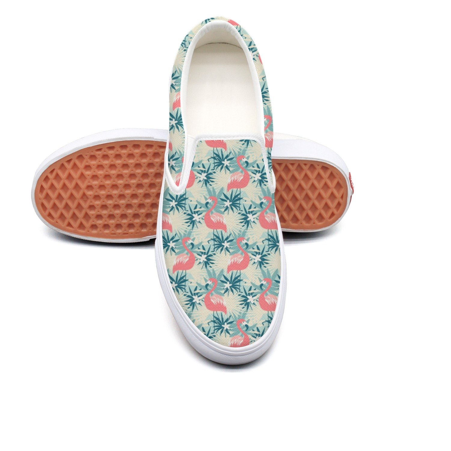 seventtynine Cream Yellow The Flamingo And Tropical Plants Classic Women Canvas Slip-Ons Loafer Shoes Sneaker
