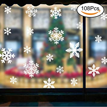 108pcs snowflakes winter christmas window decorations shop window stickers window cling decoration wall sticker 4 - Christmas Window Decorations Amazon