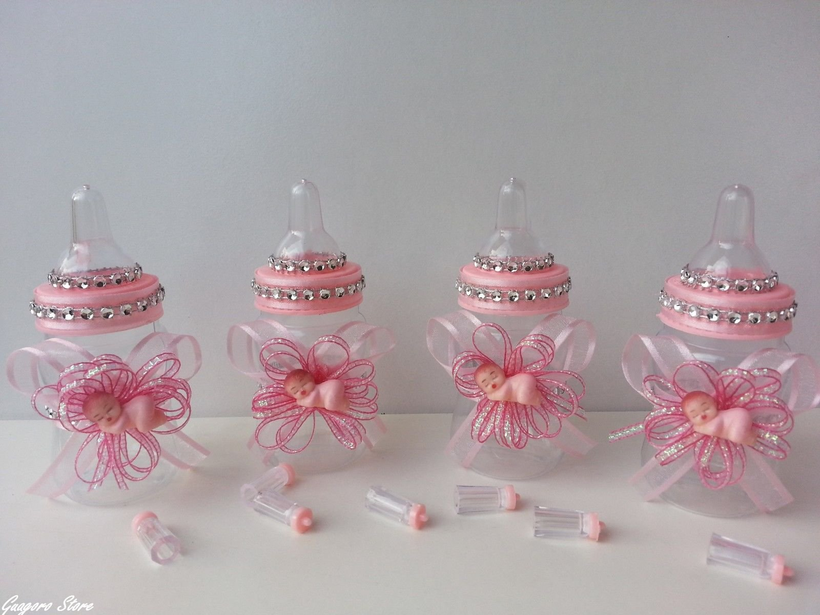 12 Pink Fillable Bottles with Plastic Baby Shower Favors Prizes Girl Decorations