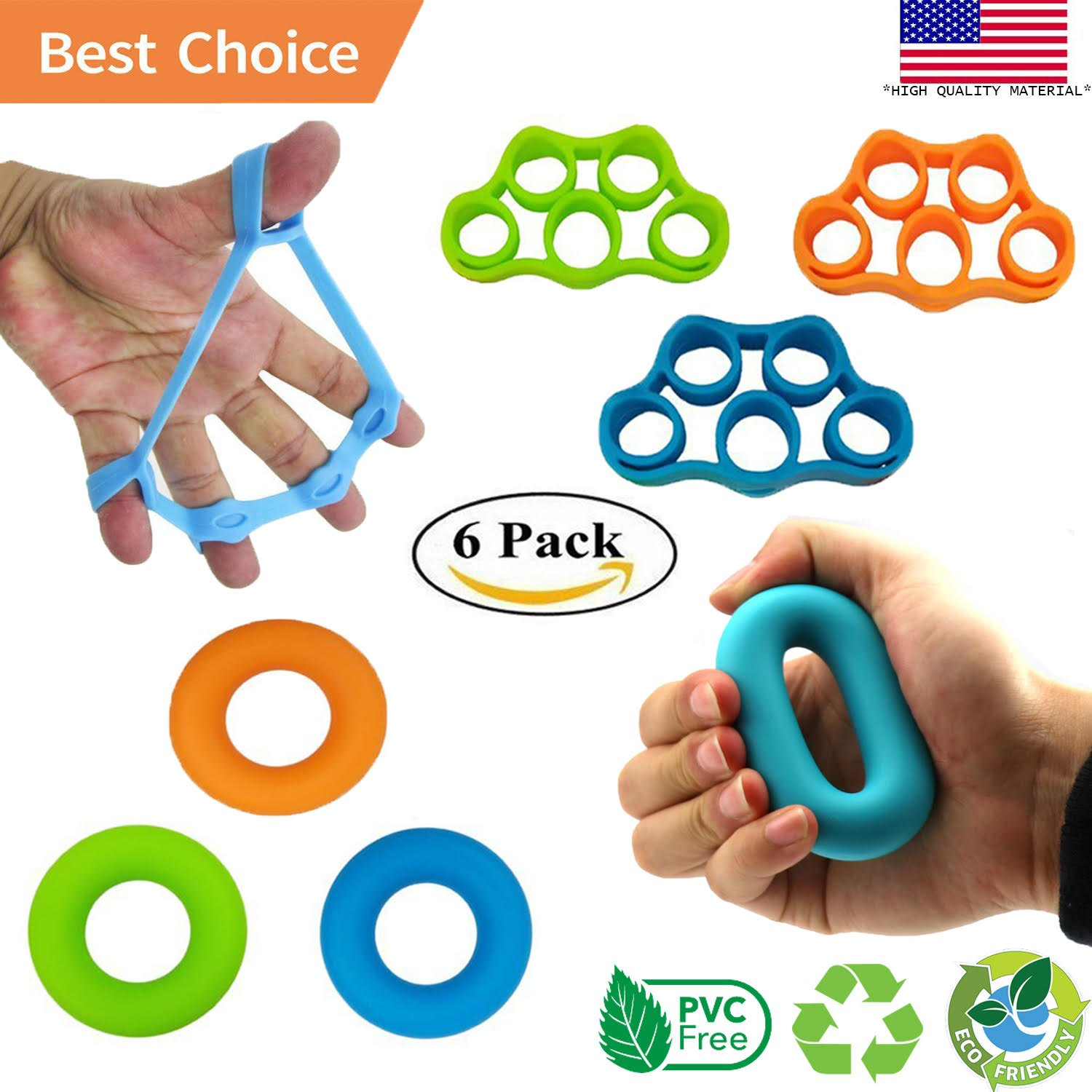 Powerband Finger Stretcher Hand Resistance Bands Hand Grip Strengthener Hand Extensor Exerciser Grip Strength Trainer for Guitar Finger, Climbing, Golf Grip, Carpal Tunnel and Hand Therapy 6 PCS Set
